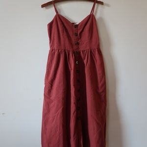 Rust maternity button down linen dress holiday